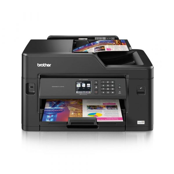 A3 Printing. Auto 2-sided print. Fast print speeds of up to 22ipm mono and 20 ipm colour. 250 sheet paper input | 50 sheet ADF (sort copy up to 30 sheets) Rear manual feed. 6.8cm Touchscreen LCD. Wired and wireless connectivity.